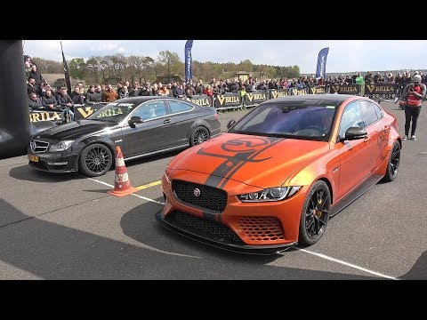Mercedes-Benz C63 AMG Coupe with iPE Exhaust vs Jaguar XE SV Project 8