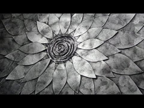 Faux Metal Flower Wall Sculpture D.I.Y Cardboard Wall Art