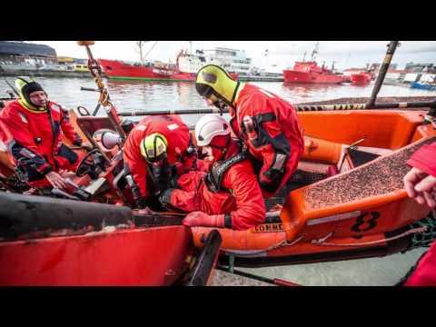 Emergency drill in evacuating a platform