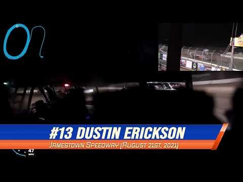 #13 Dustin Erickson WISSOTA Street Stock On-Board @ Jamestown (8/21/21) - dirt track racing video image