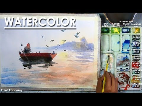 Watercolor Painting : Boat in the River, birds are flying next to it