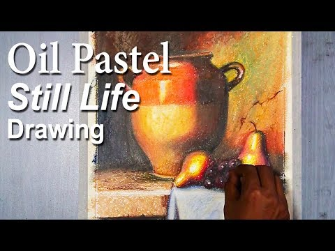 Realistic Still Life drawing in Oil Pastel tutorial | Jug & Fruits (Inspired by Loran Speck work)