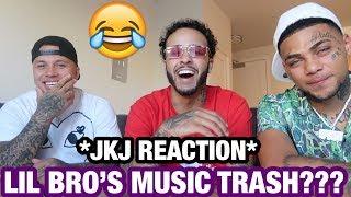 REACTING TO MY LITTLE BROTHERS MUSIC VIDEO W/ JKJ ... * TRASH!!! *
