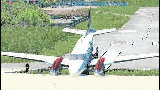 King Air C90  Runway Overrun Emergency Landing St.Barts Airport - (HD)