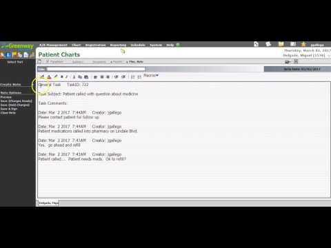 Creating a Clinical Note from a Task in Greenway Prime Suite