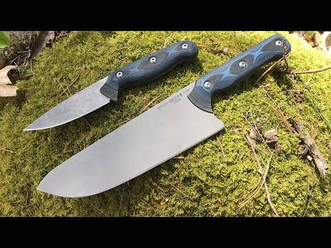 TOPS Knives Dicer 8 & Dicer 3 Kitchen Knives: These ROCK!  S35VN Steel, Tumble Finish, G10 Handles