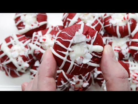 Red Velvet Peppermint Thumbprint Cookies
