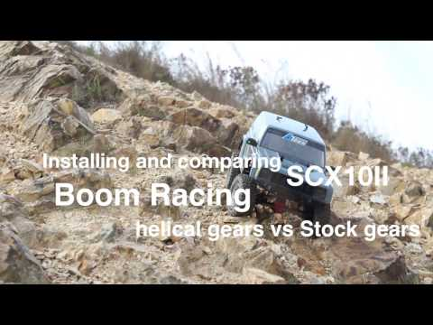 Installing and comparing SCX10II Boom Racing helical gears vs Stock gears