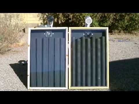 Solar Air Heater Comparison! - Steel Downspout Heater vs. Steel Can Heater (temp. tests)