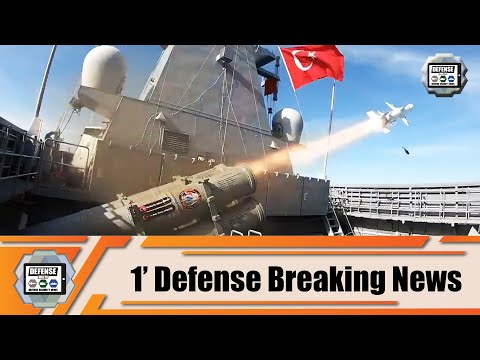 Turkish ATMACA anti-ship missile launched from TCG Kınalıada corvette successfully destroyed target