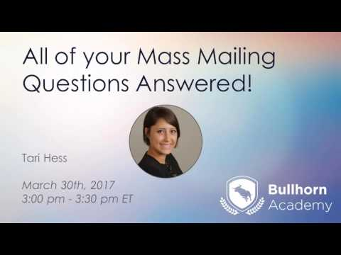 All of Your Mass Mailing Questions Answered, March 30th, 2017