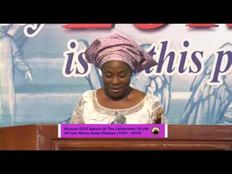 Mummy GO's speech at the Celebration of Life of Late Mama Janet Olukoya