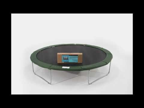 Karhu 4,2m trampoliini lasikuituputkisella suojaverkolla, asennusohje