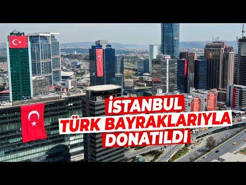 23 Nisan'da Gökdelenler Türk Bayraklarıyla Donatıldı