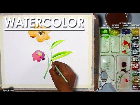 Simple Watercolor One Wash treatment Flower painting