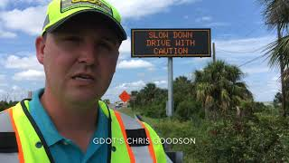 Highway sign flashes turtle warning