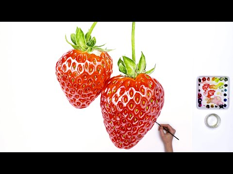 How to paint strawberries (big ones!) using watercolour, with Anna Mason