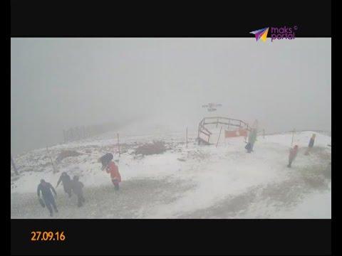 В Красной поляне пошел снег
