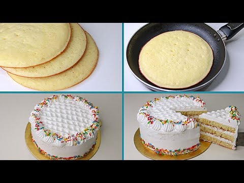 Vanilla Cake In Fry Pan | With Eggs / Eggless & Without Oven | Yummy Vanilla Cake Recipe