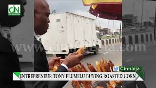 SHOCKING :BILLIONAIRE ENTREPRENEUR TONY ELUMELU SEEN BUYING ROASTED CORN BY ROADSIDE