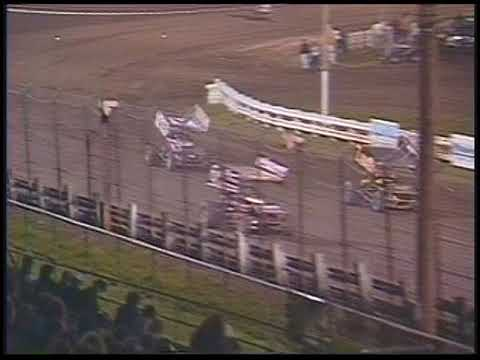 Danny Lasoski makes a last lap pass on Steve Kinser to win the first WoO show of the season at the race track. - dirt track racing video image