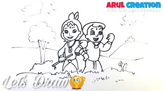 DRAWING!  How to Draw a Lord Little KRISHNA and CHHOTA BHEEM Scenery | Janmashtami Drawing easy