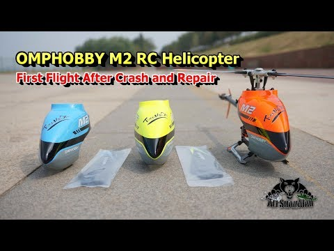 OMPHOBBY M2 3D RC Helicopter 1st Flight After Crash and Repairs - UCsFctXdFnbeoKpLefdEloEQ