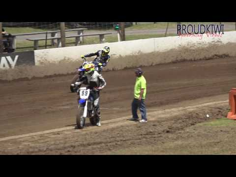 The 3 heats and final race for the guest class of the Flat Track Bikes held at Rosebank Speedway on Sunday 10 February 2019 - they are basically motorcross bikes with their brakes removed and fitted with speedway tyres - dirt track racing video image
