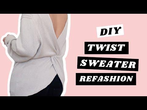 DIY Twisted Sweater Refashion - UC8ZO7Gkg-AUulQhROryptvA