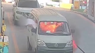 Minibus driver escapes through window after vehicle catches fire