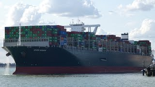 Ever Goods departs Felixstowe slightly delayed. Centre line transit around the Beach End 13 Aug 2019