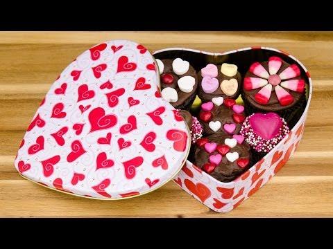 Box of Chocolate Cupcakes:  Valentine's Day Cupcakes from Cookies Cupcakes and Cardio - UCg-YSRB6TsIq-c5PUZ0F1Jg