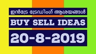 Top Intraday Trading Ideas 20-8-2019/BUY/SELL/STOP LOSS/Malayalam/MS