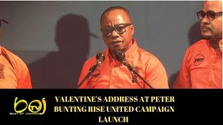 Granville Valentine's Address @ Peter Bunting Rise United Campaign Launch