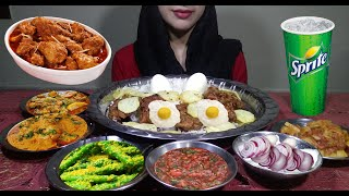 Eating Spicy Indian Food- Masala Sabzi, Aloo bhaji, Mirchi, Onion Bhaji with White Rice