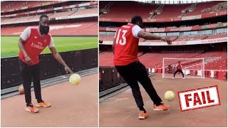 James Harden tries to showcase his soccer skills at Arsenal, but that's definitely not his sport