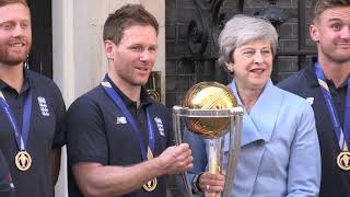 Theresa May Welcomes England's World Champions Cricketers To Downing Street