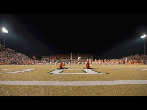 The Auburn Marching Band showcased their half-time performance during the Band-a-rama with local high school bands at Opelika High School Thursday