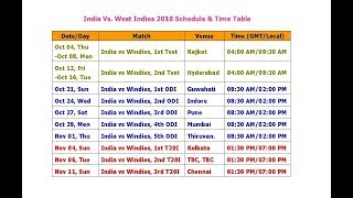 Watch India vs  West Indies 2018 Schedule & Time Table (3