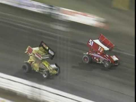Donny Schatz wins the World of Outlaws main event while Wayne Johnson takes the 360 main. - dirt track racing video image