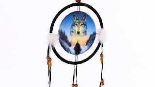 Yhon Soto Solutions - Novelty Gift Decorative Cosmic Wolf Spirit in the Sky 16cm Dreamcatcher