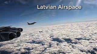RAF Typhoons Escort USAF B-52 Bomber • Flight Over Latvia