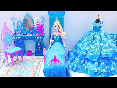 💙Barbie princess bedroom💙Elsa Frozen💙Princess dollhouse morning routine bathroom shower dress - UCxeOZigj9hGZH-5av0uaJGQ