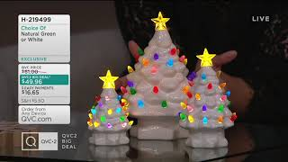 Mr. Christmas Set of 3 Lit Graduated Ceramic Nostalgic Trees on QVC