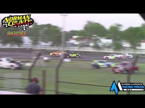 Norman County Raceway IMCA Stock Car Races (6/3/21) - dirt track racing video image