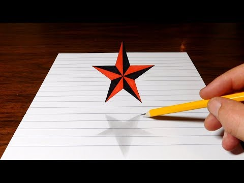 How to Draw a Floating Star - 3D Trick Art Optical Illusion - default
