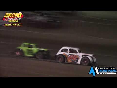 Jamestown Speedway INEX Legends A-Main (8/14/21) - dirt track racing video image