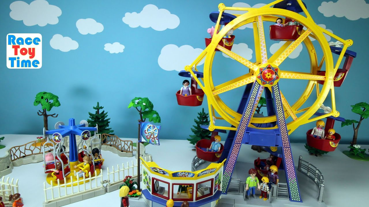 Playmobil Amusement Park Fun Toys Ferris Wheel and Kids Carousel Playset Build and Play