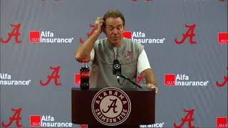 Watch Coach Saban's Press Conference live presented by Window World of Central Alabama.