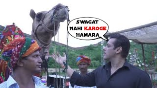 SuperStar Salman Khan Fondles Camel as he shares glimpse of Dabangg 3 shooting in Rajasthan